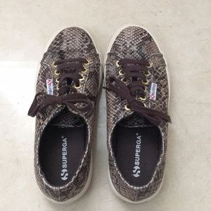 Brown snakeskin Superga sneakers.  Great condition